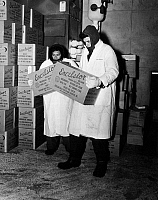 0116652 © Granger - Historical Picture ArchiveFROZEN MEAT, 1955.   Workers in the freezer of Excelsior Quick Frosted Meat Products in Long Island City, New York. The temperature in the freezer is 40 degrees below zero. Photograph, 1955.