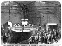 0077617 © Granger - Historical Picture ArchiveFOUNDRY, 1866.   Casting an enormous cylinder for a ship's engine at a New York City foundry, 1866. Contemporary American wood engraving.