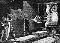0126287 © Granger - Historical Picture ArchiveGLASSWORKER, 19th CENTURY.   A glass blower at work. Wood engraving, 19th century.