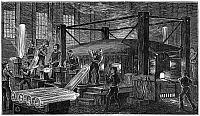 0126290 © Granger - Historical Picture ArchiveGLASSWORKER, 19th CENTURY.   Glass blowers at work in a factory. Wood engraving, 19th century.