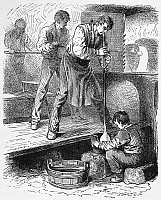 0126294 © Granger - Historical Picture ArchiveGLASSWORKER, 19th CENTURY.   Glass blowers and apprentices at work. Wood engraving, 19th century.