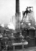 0079578 © Granger - Historical Picture ArchiveGERMANY: STEEL WORKS, 1956.   Blast furnaces of the Niederrheinische Huette steel works near Duisberg, West Germany, 1956.