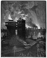 0099748 © Granger - Historical Picture ArchivePITTSBURGH: BLAST FURNACES.   The blast furnaces of Pittsburgh, Pennsylvania, at night. Wood engraving, American, 1885.