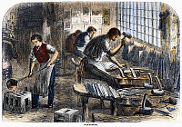 0101547 © Granger - Historical Picture ArchiveSTEEL FACTORY, 1866.   File cutting at a steel factory in Sheffield, England. Wood engraving, English, 1866.
