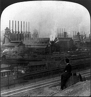 0108636 © Granger - Historical Picture ArchiveSTEEL FACTORY, c1907.   View of the blast furnaces at the Steel Works at Homestead, Pennsylvania. Photograph, c1907.