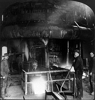0108645 © Granger - Historical Picture ArchiveSTEEL WORKERS, c1907.   Steel workers at the lower level of a blast furnace at a factory in Homestead, Pennsylvania, c1907.