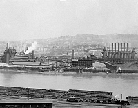 0123381 © Granger - Historical Picture ArchiveCARNEGIE STEEL MILL, c1905.   Blast furnaces along the Monongahela River at the Carnegie Steel Works in Homestead, Pennsylvania. Photograph, c1905.