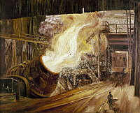 0131079 © Granger - Historical Picture ArchiveSTEEL MILL, c1948.   'The Big Blow.' Bessemer process at Weirton Steel Company, Weirton, West Virginia. Oil on canvas by Aaron Bohrod, c1948. EDITORIAL USE ONLY.