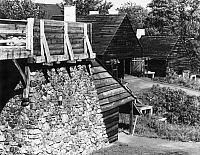 0175596 © Granger - Historical Picture ArchiveCOLONIAL IRONWORKS.   A view of the Saugus Iron Works National Historic Site in Saugus, Massachusetts, showing reconstructed buildings of the first integrated iron works in North America, in operation from 1664 to 1668. Photographed c1970.