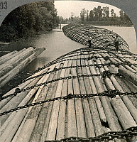 0059746 © Granger - Historical Picture ArchiveLOG RAFTS   on the Columbia River, Washington, at the turn of the century.