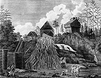 0096293 © Granger - Historical Picture ArchiveSAWMILL, 1777.   A sawmill in Fort Anne, New York. Line engraving, 1777.