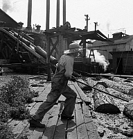 0118563 © Granger - Historical Picture ArchiveOREGON: SAW MILL, 1939.   A 'pond monkey' worker guides the direction of logs from the mill pond to the chute at the Pelican Bay Lumber Co., Klamath Falls, Oregon. Photograph by Dorothea Lange, August 1939.