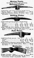 0001556 © Granger - Historical Picture ArchiveMINING TOOLS.   Advertisement for mining tools from a 19th century American mail-order catalog.
