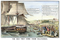 0007009 © Granger - Historical Picture ArchiveGOLD RUSH CARTOON, 1849.   'The Way They Come from California'. Cartoon inspired by the California Gold Rush. Lithograph, 1849, by Nathaniel Currier.