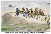 0007010 © Granger - Historical Picture ArchiveGOLD RUSH CARTOON, 1849.   A device that will enable persons afflicted with the Gold Rush fever to reach California in record time. Lithograph by Nathaniel Currier.