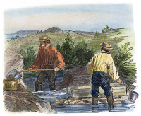 0009260 © Granger - Historical Picture ArchiveCALIFORNIA GOLD RUSH.   'Forty-Niners' washing gold: colored engraving, mid-19th century.