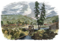 0010455 © Granger - Historical Picture ArchiveSUTTER'S MILL, 1848.   John A. Sutter's sawmill at Coloma, California, where James W. Marshall discovered gold on 24 January 1848. Contemporary color engraving.