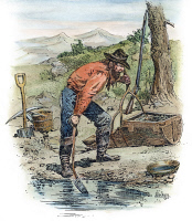 0010667 © Granger - Historical Picture ArchiveCALIFORNIA GOLDMINER, 1850.   Contemporary colored engraving.