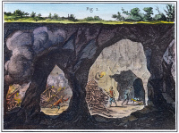 0036622 © Granger - Historical Picture ArchiveDIDEROT: UNDERGROUND MINE.   Miners loosening rocks with the help of bonfires: engraving from Denis Diderot's Encyclopedie, 1751-1772.