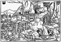 0038059 © Granger - Historical Picture ArchiveGOLD MINERS, 16th CENTURY.   Workers mining gold in a village in central Europe in the 16th century. Woodcut, 1525.