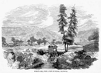 0057465 © Granger - Historical Picture ArchiveSUTTER'S MILL, 1848.   John A. Sutter's sawmill at Coloma, California, where James W. Marshall discovered gold on 24 January 1848. Wood engraving, c1850.