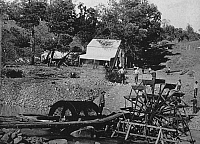 0065459 © Granger - Historical Picture ArchiveCALIFORNIA GOLD RUSH, 1853.   Gold mine at Horseshoe Bar, American River, California, c1853.