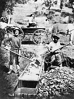 0087789 © Granger - Historical Picture ArchiveCALIFORNIA: GOLD RUSH.   Black and white gold miners prospecting in Spanish Flat, California, 1852.