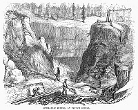 0096390 © Granger - Historical Picture ArchiveNEVADA: GOLD MINING.   Hydraulic mining, at French Corral, Nevada. Wood engraving, mid 19th century.