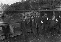 0107782 © Granger - Historical Picture ArchiveHINE: COAL MINERS, 1908.   A group of miners, drivers and trappers at a coal mine in Macdonald, West Virginia. Photograph by Lewis Hine, October 1908.