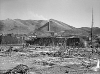 0125054 © Granger - Historical Picture ArchiveIDAHO: LEAD MINE, 1936.   A view of the Bunker Hill mine in Kellogg, Idaho, the largest lead mine in the world, surrounded by destroyed trees. Photographed by Arthur Rothstein, July 1936.