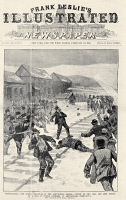 0130244 © Granger - Historical Picture ArchiveMINER STRIKE, 1888.   A mob of striking Polish-American miners attacking the coal and iron police near Shenandoah City, Pennsylvania. Front page of Frank Leslie's Illustrated Newspaper, 3 February 1888.