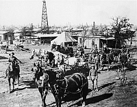 0125452 © Granger - Historical Picture ArchiveOIL: TEXAS, 1920.   The Breckenridge, Texas, oil field in 1920, four years after its discovery. Horses were used to haul equipment.