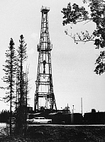 0171688 © Granger - Historical Picture ArchiveALASKA: OIL WELL, 1962.   An oil well in operation on Alaska's Kenai Peninsula. Photographed in 1962.