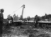 0171694 © Granger - Historical Picture ArchiveALASKA: MILITARY PIPELINE.   A pipeline construction crew laying 8-inch pipe near Fairbanks, Alaska, November 1954, part of a project intended to supply jet fuel from tankers at the port of Haines to nearby Eielson Air Force base.
