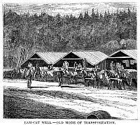 0323752 © Granger - Historical Picture ArchiveOIL TRANSPORT, 1871.   Transportation of oil by horse-drawn carts, at the Ram-Cat oil well in Pennsylvania. Wood engraving, American, 1871.