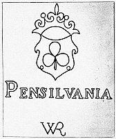 0052288 © Granger - Historical Picture ArchivePAPER: WATERMARK, c1690.   One of the early watermarks of William Rittenhouse, a fleur de lis bearing on its face a clover leaf, the town shield of Germantown, Pennsylavnia, where his mill was located.