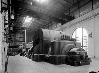 0526648 © Granger - Historical Picture ArchiveCHICAGO: FISK STATION.   A turbine generator in the Fisk Street Generating Station in Chicago, built in 1903. Photograph, 1987.