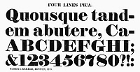 0097243 © Granger - Historical Picture ArchiveTYPOGRAPHY, 1825.   Four lines pica, a typeface from the catalog of Baker & Greele, Boston, 1825.