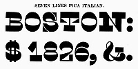 0097261 © Granger - Historical Picture ArchiveTYPOGRAPHY, 1825.   Seven lines pica Italian, a typeface from the catalog of Baker & Greele, Boston, 1825.