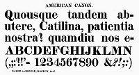 0097274 © Granger - Historical Picture ArchiveTYPOGRAPHY, 1825.   American canon, a typeface from the catalog of Baker & Greele, Boston, 1825.