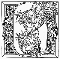 0097302 © Granger - Historical Picture ArchivePRINTING INITIAL, 1481.   The Initial 'G,' from Rolenwick, 'Fasciculus Temporum,' published at Utrecht, 1481.