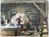 0089666 © Granger - Historical Picture ArchiveSOAP MANUFACTURE, c1870.   The boiling room of an animal-fat soap factory in the suburbs of Paris, France. Wood engraving, French, c1870.