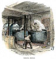 0074516 © Granger - Historical Picture ArchiveSUGAR REFINERY, c1865.   The boiling house of a sugar refinery. Wood engraving, English, c1865.
