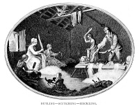0006210 © Granger - Historical Picture ArchiveTEXTILE MANUFACTURE, 1783.   'Butling-Scutching-Hacklig.' One in a series of engravings illustrating the Irish Linen manufacture in County Down.