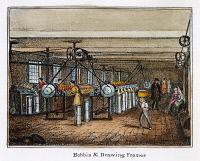 0009412 © Granger - Historical Picture ArchiveTEXTILE MILL, c1840.   Bobbin and drawing frames in a New England cotton textile mill. Lithograph, c1840.