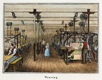 0009414 © Granger - Historical Picture ArchiveTEXTILE MANUFACTURE, c1836.   The weaving room in a New England cotton mill. Lithograph, c1840.