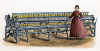 0010711 © Granger - Historical Picture ArchiveMASSACHUSETTS MILL GIRL.   A Massachusetts mill girl beside a Fales and Jenks spinning frame, c1845. Wood engraving, American, 19th century.