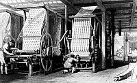 0012273 © Granger - Historical Picture ArchiveTEXTILE MANUFACTURE, 1834.   Calico printing in a Manchester, England, cotton mill. Steel engraving, 1834 English.