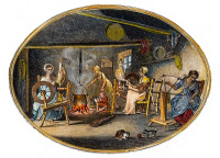 0034356 © Granger - Historical Picture ArchiveLINEN MANUFACTURE, 1783.   'Spinning - reeling with the clock-reel - boiling yarn.' Engraving illustrating the Irish linen manufacture in County Down, Ireland.