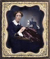 0065086 © Granger - Historical Picture ArchiveSEWING MACHINE, c1853.   Seamstress with an 1853 model Grover and Baker industrial sewing machine. Oil over Daguerreotype, American, c1853.